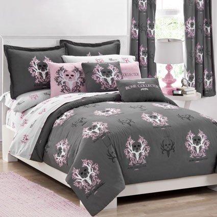 Bone Collector Comforter/Sham Set, Queen, Black/Grey front-9481