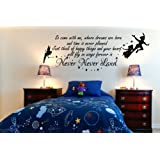 Peter Pan So Come With Me Tinkerbell Childrens Wall Sticker Mural Kids Bedroom 100x55 (Black)