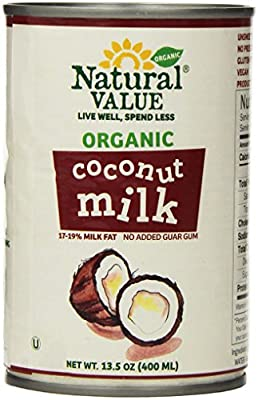 Natural Value Organic Coconut Milk, 13.5 Ounce Cans (Pack of 4)
