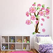 Decals Design 'Tree With Beautiful Elegant Flowers' Wall Sticker (PVC Vinyl, 70 Cm X 50 Cm)