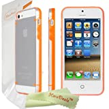 HoraDeals (TM) Luminous Style Orange Frame TPU+PC Slim Transparent Clear Crystal Hard Back Case Cover for Apple iPhone 5S / iPhone 5, Including One Microfiber Clean Cloth
