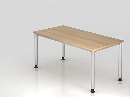 Scrivania 4piedi-rotondo.160x 80cm, rovere/argento