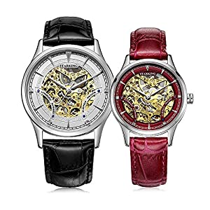 Starking Men's & Women's AM/L0185 Skeleton Automatic Leather Band Wrist Watches for Couple