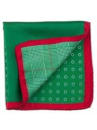Elizabetta Men\'s Designer Italian Silk Fashion Pocket Square Handkerchief,Tito Green/Red