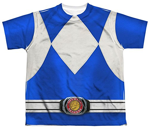 Mighty Morphin Power Rangers Blue Ranger Costume - All Over Youth Front T-Shirt