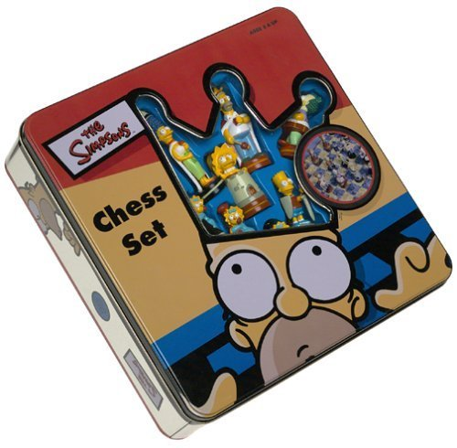 Simpsons Chess Set with Laminated fold-up playing board by Wood Expressions, Inc.