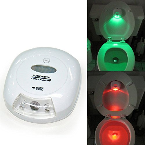 LED Sensor Motion Activated Toilet Nightlight Battery-operated with Red and Green Light Showing Toilet Seat Up or Down