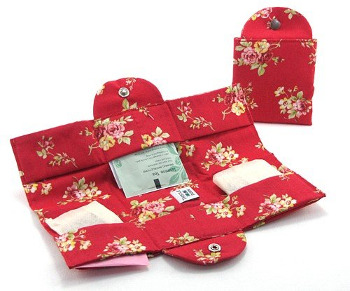 Big Save! Tea Travel Compartment Wallet Made in USA 100% Cotton (Ruby Red Floral)