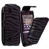 CONTINENTAL27 For Nokia Asha 300 New Stylish Design Black Zebra Embossed Printed Pouch PU Leather Magnetic Flip Closure Case Cover