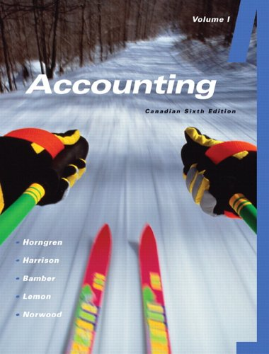Accounting Vol. 1, 6th Canadian edition