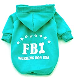 Demarkt Fashion Blue FBI Dog Cat Puppy Fleece Hoodie Costume Clothes Pet Apparel Superdog Dress Up Pet Supplies Size Large