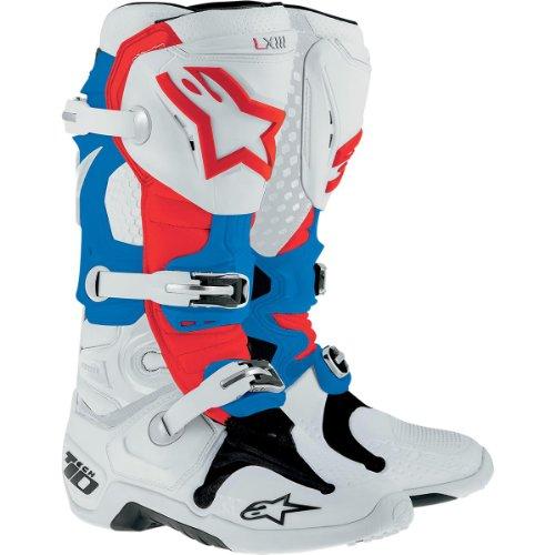 Alpinestars Tech 10 Boots-White/Red/Blue-14