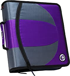 Case-it Dual 2-in-1 Zipper D-Ring Binder, 2 Sets of 1.5-Inch Rings with Pencil Pouch, Purple, DUAL-101-PUR