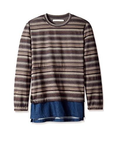 Shades of Grey Men's Sweatshirt with Denim Shirttail