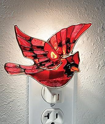 Red cardinal bird night light stained glass christmas night light designs - Birdhouse nightlight ...