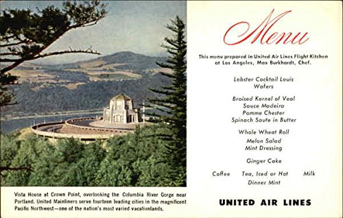 United Airlines Menu Vista House At Crown Point Aircraft Original Vintage Postcard