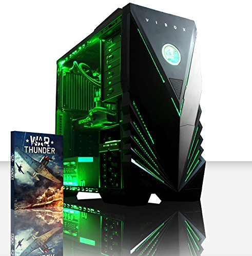 VIBOX Submission 29 – New 4.4GHz Eight 8-Core, GTX 960, Water Cooled, Extreme Performance, Desktop Gaming PC, Computer with WarThunder Game Bundle, Neon Green Internal Lighting Kit PLUS a Lifetime Warranty Included* (4.0Ghz (4.4GHz Turbo) AMD FX 8350 New Eight 8-Core Processor, 2GB Nvidia Geforce GTX 960 Graphics Card, Coolermaster R2 Water Cooler, 1TB HDD Hard Drive, 16GB 1600MHz RAM, High Grade 500W PSU, No Operating System Included)
