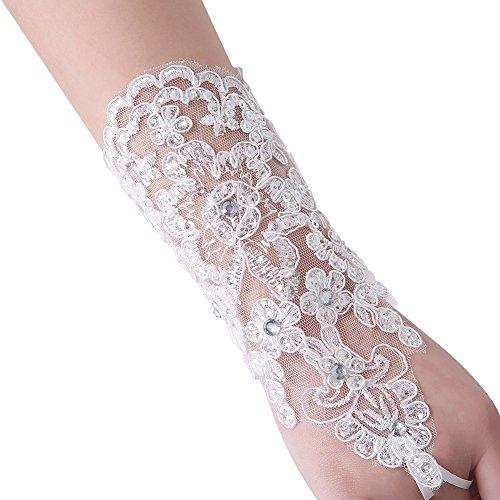 Dressy New Star New Lace Bridal Wedding Gloves Fingerless White Medium