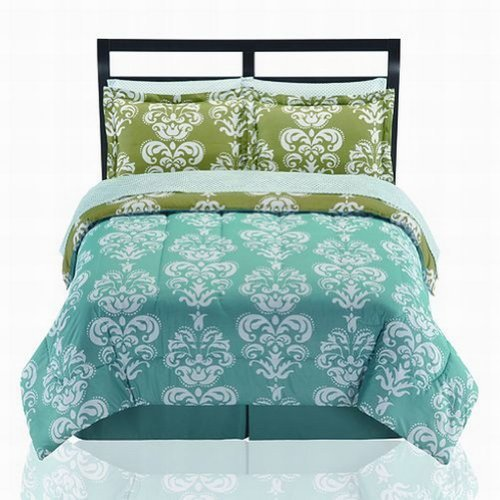 The Big One Madison Teal Blue Damask Twin 6 Piece Bed In Bag Comforter Sheets front-555679