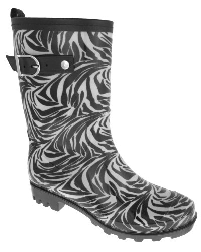 Capelli New York Wildlife Zebra Print With Leather Trim And Buckle Strap Rain Boot Black Combo 9