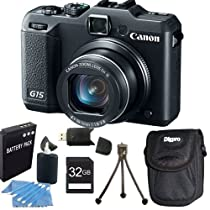 Canon Powershot G15 12 MP High-Performance Digital Camera 32GB Bundle
