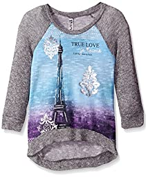 Beautees Big Girls\' Text, Knit with Eiffel Tower, Blue, Large