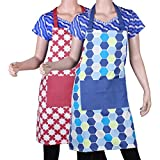 Suam Cotton Blue & Maroon Printed With Front Pocket Apron Set Of 2