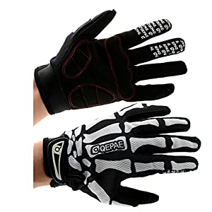 {Factory Direct Sale} Full Finger Cycling Bicycle Winter Off-Road Racing Gloves Black&White Warm Motorcycle Winter Skull Bone Skeleton Gloves