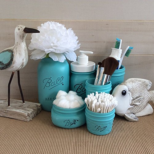 Chalk Painted Mason Jars Bathroom Set - 6 Piece set includes reCAP rust proof ADAPTA Pump and Peony Flower - Shabby Chic Bathroom Accessories Set - Ball Mason Jar Bathroom Organizer (Mason Jars Wide Mouth 4 Oz compare prices)
