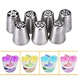 eBoot 7 Pieces Stainless Steel Icing Piping Nozzle Pastry Decorating Tips Cake Sugarcraft Decorating Tool Set