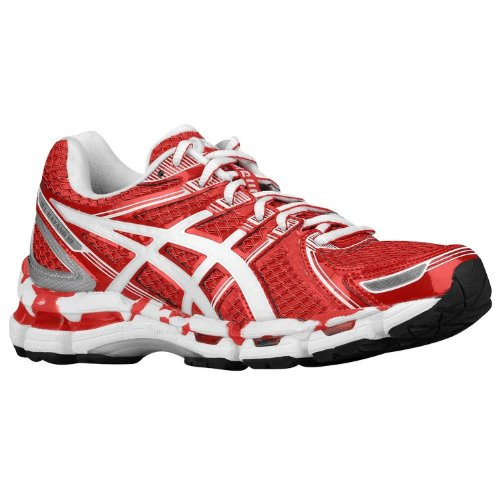 ASICS Women's Gel-Kayano 19 Running Shoe,Hot Red/White/Silver,9 M US