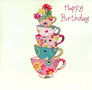 Happy Birthday Tea Cups Card - Hand Finished with Glass Crystals ...: www.amazon.co.uk/Happy-Birthday-Tea-Cups-Card/dp/B004VZV45K
