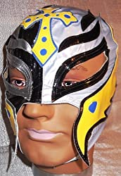 WWE REY MYSTERIO Licensed Black / Silver w/ Yellow Trim Youth Size Replica MASK