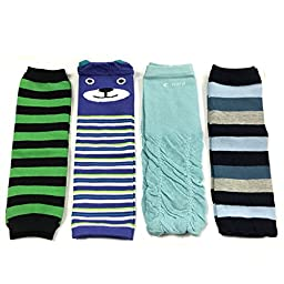 Allydrew 4 Pack Leg Warmers In Various Styles For Babies And Toddlers, Green Black Stripe, Bear, Ruched Blue, Blue Stripe