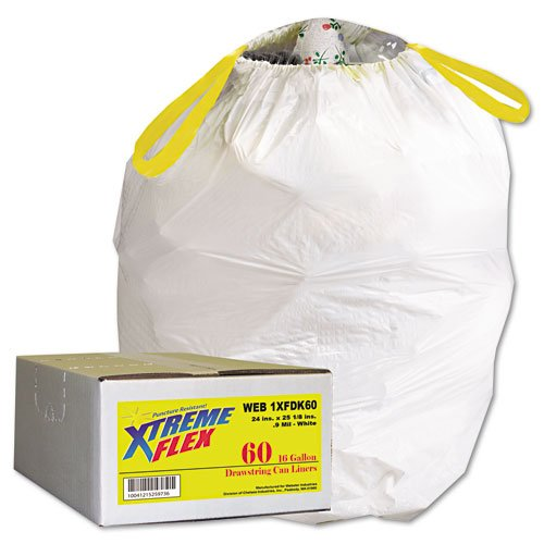 XtremeFlex Products - XtremeFlex - Drawstring Can Liners, 13 Gallon, .9 Mil, White, 60/Carton - Sold As 1 Carton - Bags are extra strong. - Unique textured, flexing material expands around all sorts of objects and trash. - Made with state-of-the-art linear low density resin for superior puncture resistance. - Drawstring closure keeps hands clean and free of trash. - High-performing bags are embossed for superior puncture and tear resistance.