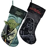 "Kurt Adler 19"" Star Wars Yoda & Darth Vader Applique Stockings W/real Cuffs"
