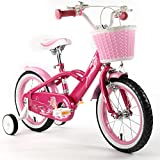 ROYAL-BABY-MERMAID-STYLE-PRINCESS-PINK-GRILS-BIKES-IN-SIZE-12-14-16-18-Adjustable-removable-stabilisers-front-pink-basket