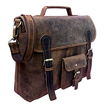 "Handolederco. Vintage Leather Laptop Bag 15"" Messenger Handmade Briefcase Crossbody Shoulder Bag School Bag"