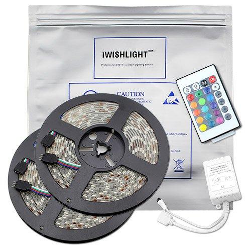 Iwishlighttm 32.8Ft 10M Smd 5050 600Leds Water-Resistant Flexible Rgb Led Strip Lighting + 24Key Remote