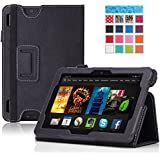 "MoKo Amazon All-New Kindle Fire HDX 7"" Case - Slim Folding Case for Kindle Fire HDX 7.0 Inch 2013 Generation Tablet, BLACK (with Smart Cover Auto Wake / Sleep Feature)"
