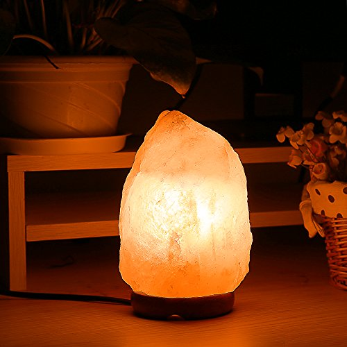 Homdox Himalayan Salt Lamp Natural Air Purifier Salt Light with Dimmable Switch Wood Base for Home, Office Table Decoration (8.6 Inch), Orange Color