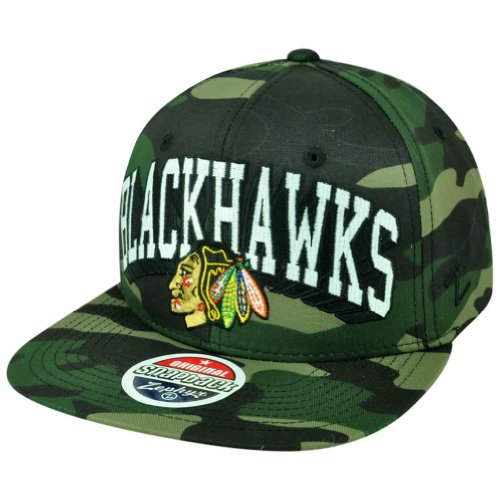NHL Zephyr Custom Twill Army Camo Chicago Blackhawks Flat Bill Snapback Hat Cap at Amazon.com