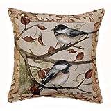 Autumn Chickadee Tapestry Toss Pillow USA Made