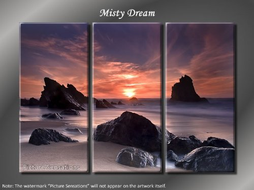 Framed Huge 3 Panel Stunning Ocean Coast Misty Dream Giclee Canvas Print