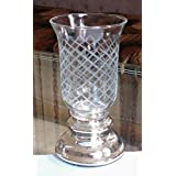 Sharma Overseas Mercury Glass Base With Diamond Etched Hurricane Candle Holder / Vase