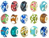 50pc Lot Lampwork Murano Glass European Mix Beads - Compatible with Pandora, Chamilia, Troll, Biagi