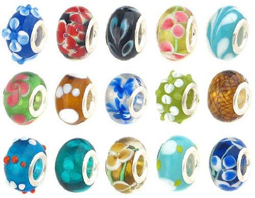 50pc Lot Lampwork Murano Glass European Mix Beads – Compatible with Pandora, Chamilia, Troll, Biagi