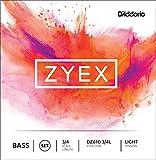 D\'Addario Bowed Jeu de cordes pour contrebasse D\'Addario Zyex, manche 3/4, tension Light