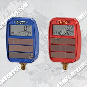 Yellow Jacket 49042 Lo-Side Solar/Light-Powered Digital LCD Gauges