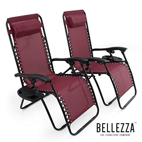 BELLEZZA© Premium 2PC-Patio Chairs Zero Gravity Chair Caravan Lounge Folding Recliner, Burgundy